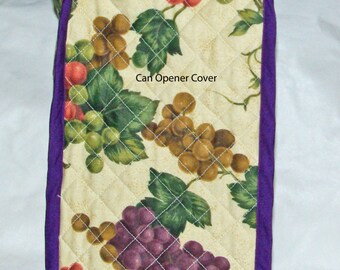 Can Opener Quilted Cover, With Purple And Green Grapes, Vines, No Shipping Charges, Ready To Ship TODAY, AGFT 252