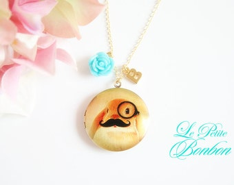 Mustache bunny with initial pictures Locket necklace