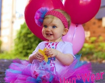 Personalized Custom Birthday Shirt + Tutu Outfit  (any age)  pinks and turq