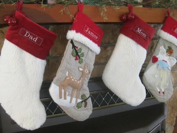 Deer Christmas Stocking with Monogram Pottery Barn Woodland