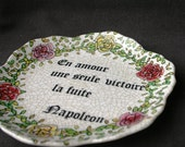 In love, one win... Fun vintage decorative French plate.