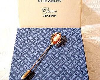 Cameo Stick Pin Brooch Gold Tone Vintage Orange White Pearls Raised Woman Silhouette Scalloped Edge
