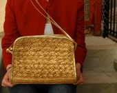 Metallic Gold Woven Braided Purse Crossbody Bag