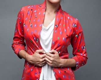 """vintage 80s cardigan top casual layer jacket open red print knit half sleeves M MEDIUM (38"""" bust)"""