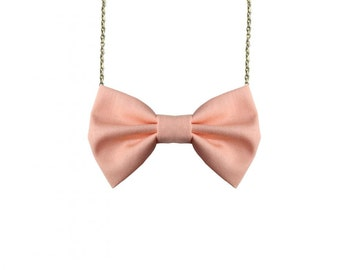Peach Bow Tie Necklace, Salmon Casual Women Bowtie, Bridesmaids Bow Tie, Peach