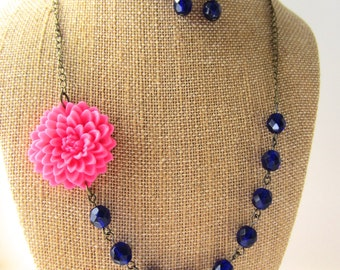 Pink and Navy Blue Necklace Flower Statement Necklace Navy Jewelry Navy Wedding Bridesmaid Jewelry Wedding Jewelry Flower Necklace