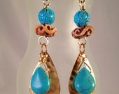 Turquoise Flower, Carved Horn, and Turquoise Drop Hammered Teardrop Earrings