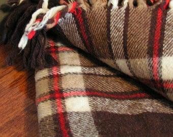 FREE SHIPPING Plaid Wool Blanket, Faribo Mills, cozy for fall or football