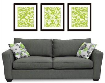 Abstract Flower Wall Art - Set of 3 11x14 Prints - Green Triptych Wall Art - Aldari Art