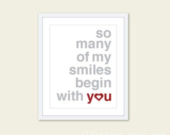 So Many Of My Smiles Begin With You Art Print  - Typography Poster Grey and Red - Baby Nursery Decor - Yellow and Grey