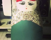 Made to Order- Matryoshka, Nesting Doll Pillow- custom color body, scarf and hair