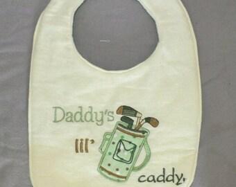 Baby boy golf bib - daddy little caddy bib - baby boy bib - baby girl bib - golf bib - caddy bib