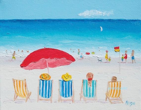 Art de plage d cor de plage plage de peinture toile art - Decor plage ...