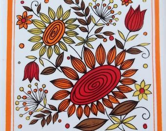 Cheery pop Sunflower Tulips flower power Tile Trivet Red Orange Yellow in Cast Iron Frame