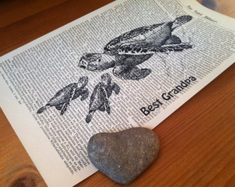 Best Grandpa Seaturtles Family Art Print on Antique 1896 Dictionary Book Page