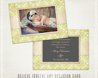 Believe Christmas Card Template (Green)- Millers Lab 5x7