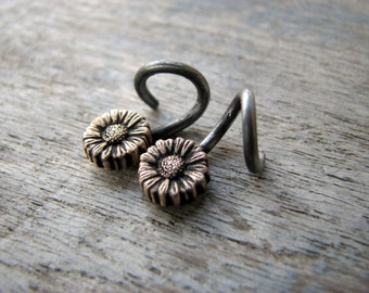 Sunflower hoops 14 gauged earrings