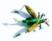 Verdant Cricket - green beaded grasshopper pendant