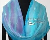 Silk Scarf Handpainted. Turquoise, Lavender Hand Painted Shawl. Handmade Silk Wrap MYSTIC NEBULA. Large 14x72. Birthday, Mother Gift.