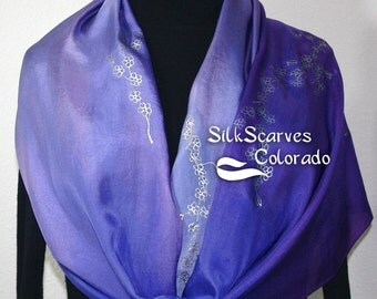 Hand Painted Silk Scarf Purple Blossoms. Scarf in Purple and Lavender. Size LARGE 14x70. Silk Scarves Colorado . 100% silk. MADE to ORDER
