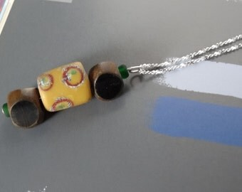 Antique African Trading Glass Bead Pendant Necklace. Venetian Trade, With Wooden Bead Detail, Vintage Jewelry, Yellow Flowers. Gift For Her