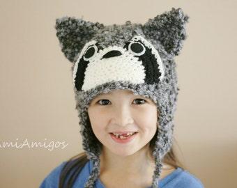 Crochet Fuzzy Raccoon Hat (4T-Preteen)