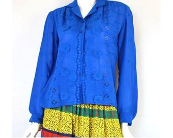 Eyelet Lace Royal Blue Blouse Vintage 1970s Size Large