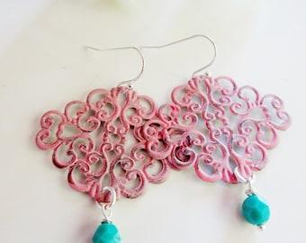 Pink Filigree Earrings, Coral, Boho Style, Aqua Dangle, Flower die Pattern, gift for Her