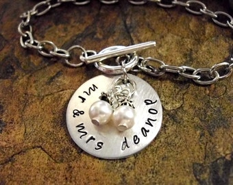 Personalized Jewelry, Hand Stamped Jewelry, Wedding Bracelet, Anniversary Jewelry, mr. and mrs. jewelry