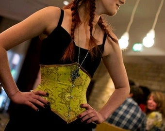 Steampunk corset. Lime/ gold under bust silk corset. UK size 6