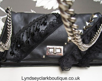 Black lace punk gothic clutch bag purse made from recycled fabric