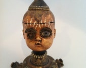 Antique Doll Head Steampunk Assemblage Compass