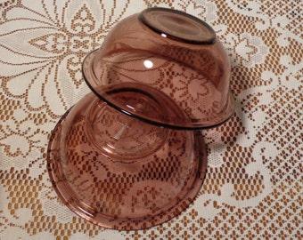 Vintage Pyrex Purple Mixing Bowls  - Clear Amethyst Pyrex Nesting Bowls  -  14-0426