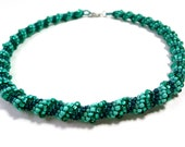 Stunning Spiral Mermaid Necklace in Mint and Sea Foam green