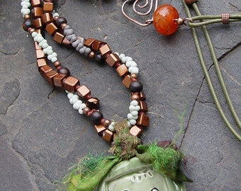 Earthenware Stick Children and Dog Pendant, Porcelain and Paper Handmade Necklace