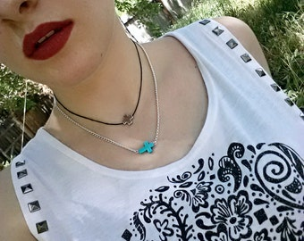 Turquoise Necklace Turquoise Cross Trending Jewelry Layering Necklace Tween Gift Women Teen Christian Gift