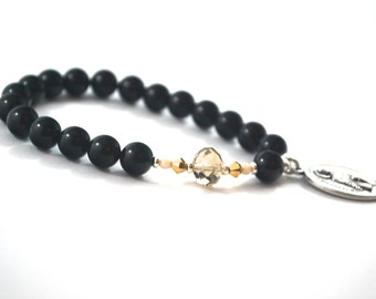 St Peregrine Onyx + Crystal Bracelet Patron Saint Bracelet Healing Saint Peregrine bracelet Patron saint of cancer victims and carers