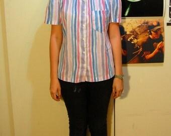 M Vintage 80s Pastel Striped Shirt