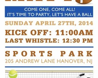 diy print invitation, sports birthday party, football party invitation, baseball birthday invitation,  birthday invite, soccer party invites