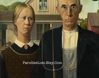UFO Alien Space Ship Print Grant Wood American GOTHIC Parody Flying Saucer Cthulhu