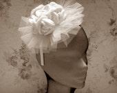 Boho Style Wedding Crochet   Fascinator,, Crochet Bridal Fascinator & Mini Hats  Rose ,Crochet Rose Hair Accessories.