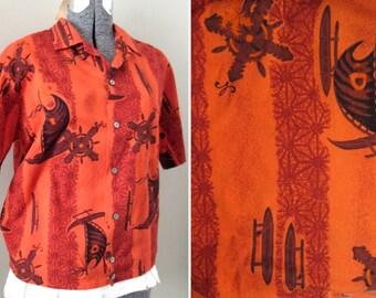 Vintage 50s Men's Aloha Shirt - Reef Barkcloth Hawaiian Shirt Tropical Beach Surf Tiki Rockabilly Eames Atomic Orange Graphic Print Man S M