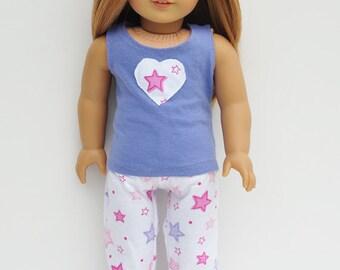 AG Doll Clothes - Pajamas, Pj's, Set, Periwinkle & Pink Stars, Tank, Pants