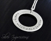 Personalized Washer Necklace / Hand Stamped Jewelry / Mommy Necklace