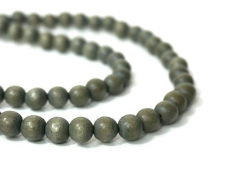 gray wood beads, 8mm round, eco-friendly wooden beads (814R)