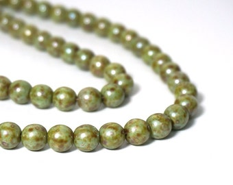 8mm round Czech Glass Beads, light green granite finish, Full & Half Strands available  (923G)