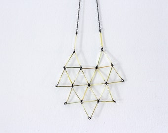 Geometric Statement Necklace, Gold necklace, Glass bead Necklace, Faceted Necklace, Geo bib necklace, Big triangles necklace