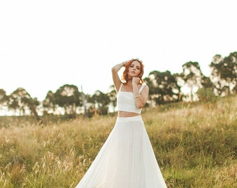 Items similar to 2 piece boho wedding dress tulle maxi for Wedding dress bodysuit and skirt