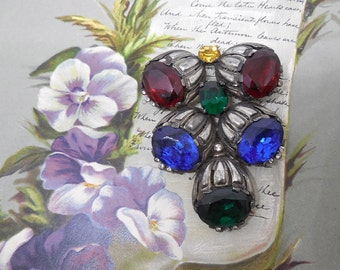 Antique Czechoslovakia Brooch w/ Large Colorful Stones
