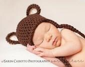 Newborn Baby Boy Hat, 0 to 1 Months Baby Boy Hat, Baby Boy Teddy Bear Hat, Chocolate Brown with Cream Ears. Newborn Photo Props. Baby Gift.